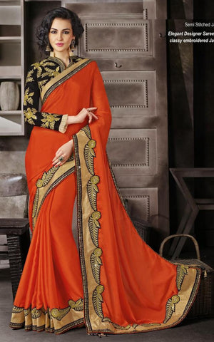 Rust,Chiffon,Heavy embrodiery designer saree with designer blouse