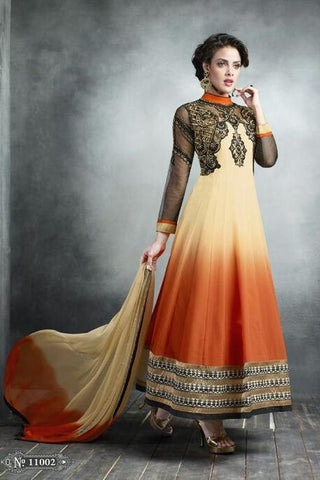 Yellow , orange , Black,Georgette,Designer suits,suits,party wear,anarkali,embroidered suits,heavy suits,kaya,salwar suits,salwar