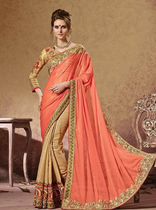 Bridal orange and Beige saree with embroidery