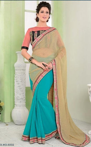 Blue , Beige,Half georgette,Designer party wear saree with designer blouse