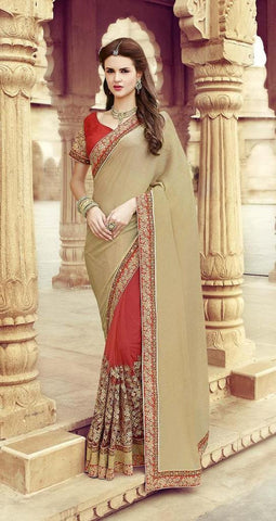 Saree Beige , Red,Georgette