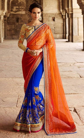 Orange , Blue,Net ,Heavy bridal wedding saree with heavy embroidery blouse