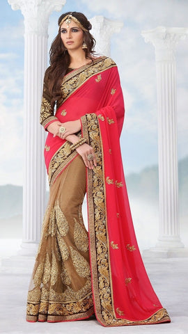 Saree : Georgette , Silk ,Beige,red