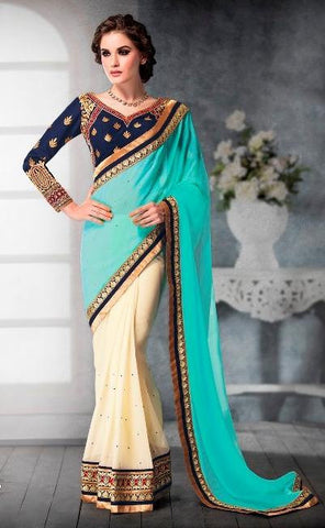 Cyan , Cream,Faux georgette,Designer party wear saree