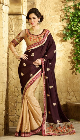 Brown , Beige,Chiffon,Party wear designer saree