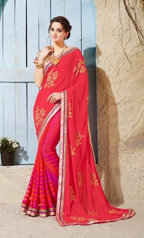 Red,Brasso,Designer heavy party wear saree