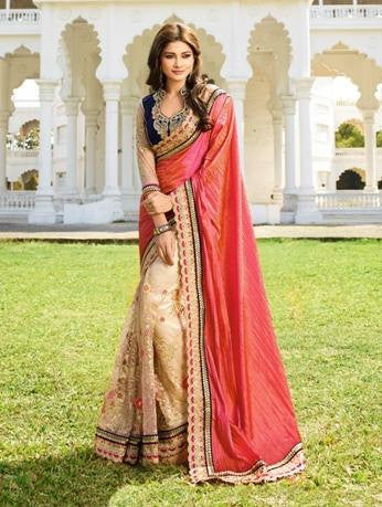 Pink , Beige,Net,Heavy party wear bridal designer saree