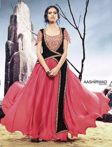 Pink , black,Georgette,Party wear heavy designer suits