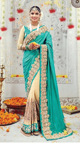 Cyan , Cream,Banaras silk,heavy designer party wear saree