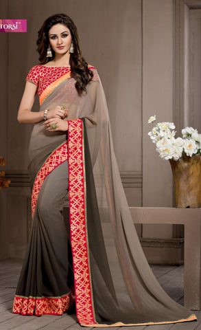Brown,Georgette,Causal designer saree