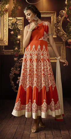 Orange,Silk,Designer party wear anarkali suits