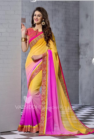 Pink , yellow,Georgette,Designer party wear saree