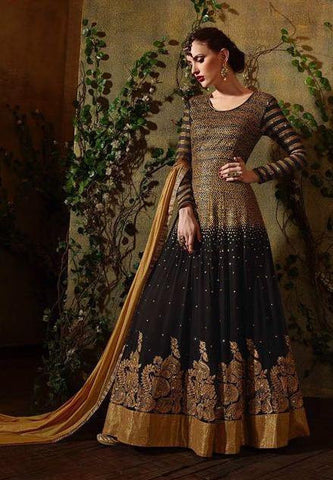 Black  Embroidered Georgette Abaya Style Anrakali Suits With Dupatta