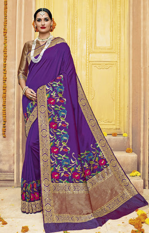 Purple,Silk,Banarsi silk saree