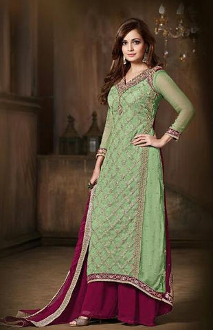 Green , Maroon,Chiffon,Floor length designer salwar suits