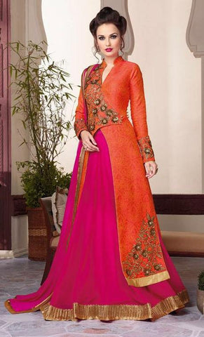 orange , Pink,Silk,Heavy designer anarkali floor length suit