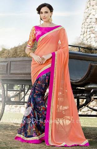 Peach,Pure georgette,Casual office wear designer saree