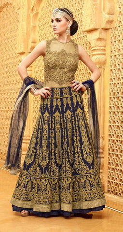 Blue,Net,Heavy designer party wear suits