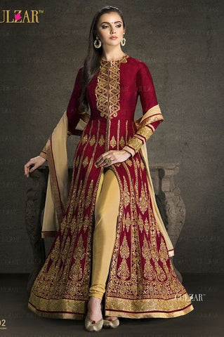 Red & Beige,Bangalori silk,Heavy party wear designer suits