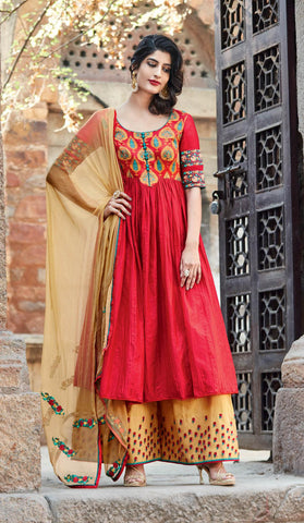 Red , beige,cotton,Straight designer party wear suits