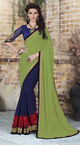 Green , Blue,Georgette,Party wear designer saree