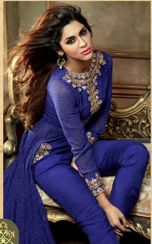 Blue designer georgette long suits