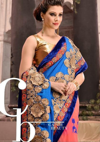 Party Wear saree with Embroidery Booti work