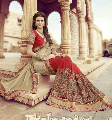 Designer Beige and Red wedding saree with embroidery