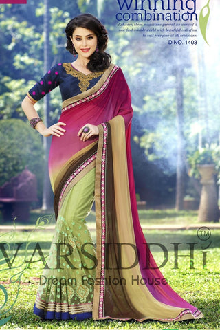 Multicolored pink and green saree with blue blouse