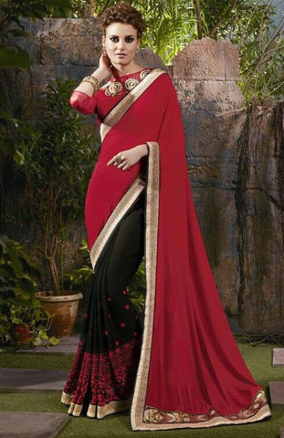 Maroon , Black,Georgette,Designer party wear saree with designer blouse