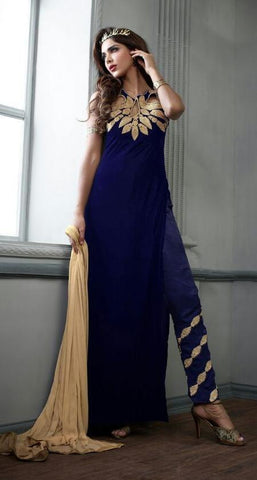 Blue,velvet,Designer staight long suits with velvat fabric
