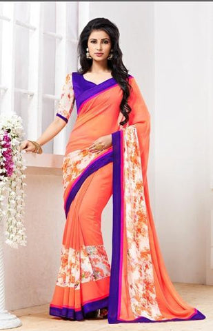 Orange , Blue,Georgette,designer causal broder saree with printed blouse