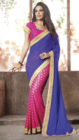 Saree Blue & Pink,Viscos