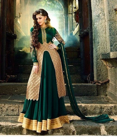 Green anarkali suits with contrasting golden embroidery work and White Partywear Fusion Anarkali Suit With Contrasting Red Border And Bottom Combo Offer
