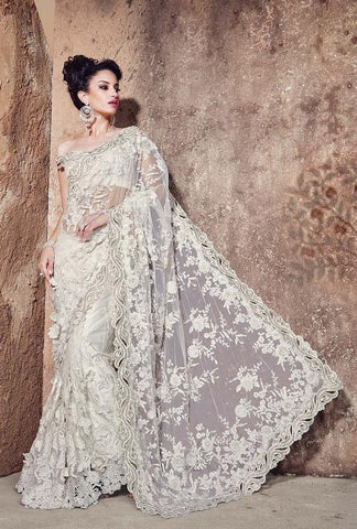 Saree White,Net