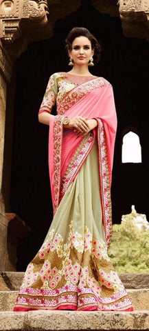 Pink , pista green,Art silk,Heavy bridal wedding saree with heavy embroidery blouse