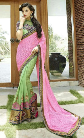 Pink , Green,Bemberg,Designer wedding saree with heavy embroidery work