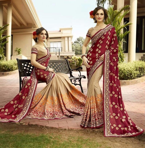 Peach , Blue,Georgette,Buy designer georgette saree with embroidery work