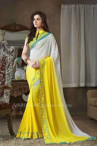 Yellow and white shaded pure georgette saree