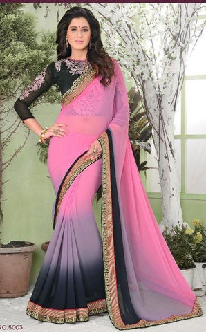 Pink , Black,Georgette,Designer party wear saree with designer blouse