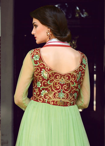 Heavy embroidery green and maroon anarkali semi stitched suits with pure net dupatta