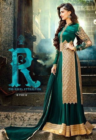 golden embroidery Anarkali suit