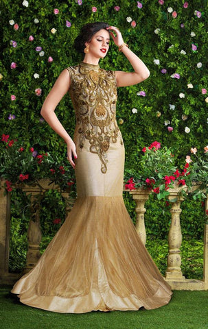 Heavy embroidery designer fish cut long floor length beige anarkali gown