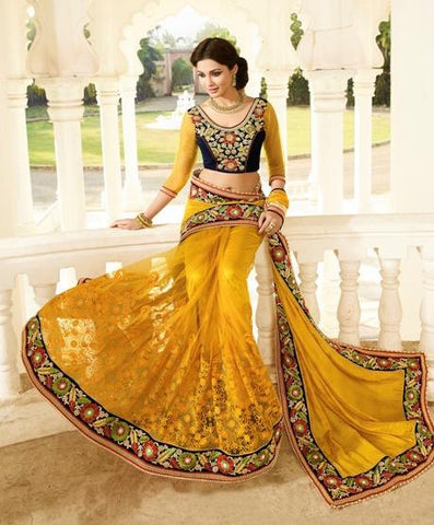 Yellow,Net,Heavy party wear bridal designer saree