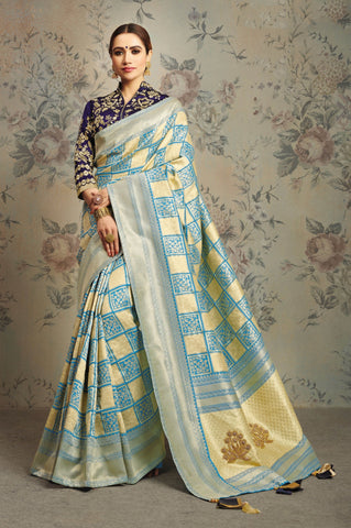 Blue Cream Silk Party Wear Saree With Royal Blue Blouse