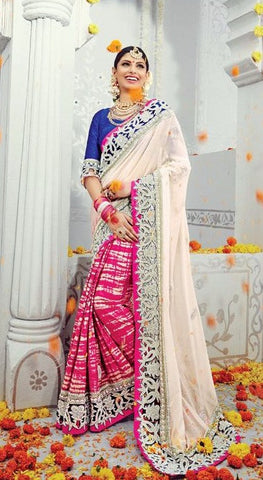 White , Pink,Georgette,heavy designer party wear saree