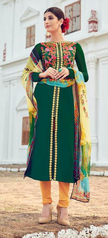 Green,Cotton,Straight designer party wear suit