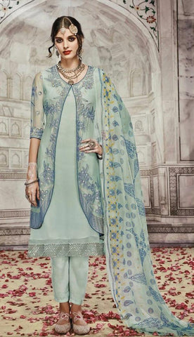 Blue  ,Georgette,Party wear straight designer suit