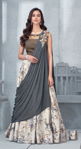 Peach Fancy Lycra Party Wear  Lehenga With Grey Dupatta