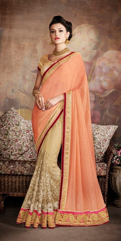 Peach , Beige,Net,Party wear designer saree